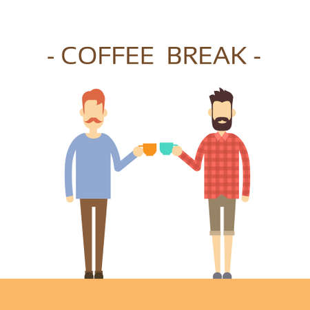 casual business man: Casual Business Man Hold Cup Coffee Break Concept Flat Vector Illustration Illustration