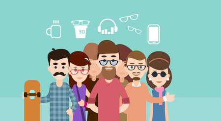 mixed race girl: Casual People Group Hipster Flat Vector Illustration