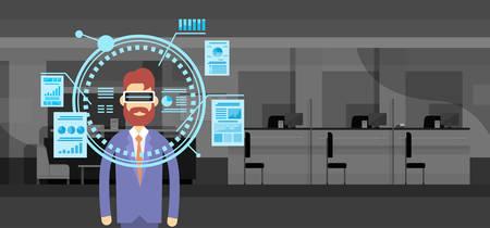 office wear: Business Man Wear Virtual Reality Digital Glasses Finance Graph Chart Office Background Flat Vector Illustration