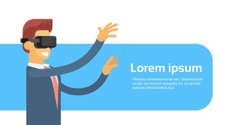 headset business: Business Man Wear Virtual Reality Digital Glasses Headset Banner With Copy Space Flat Vector Illustration