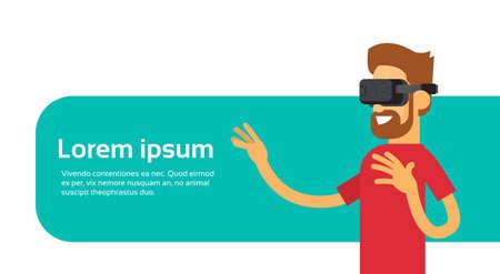 hand wear: Man Wear Digital Glasses Hand Virtual Reality Flat Vector Illustration