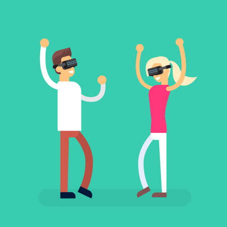 coupe: Man Woman Coupe Wear Virtual Reality Digital Glasses Headset Dancing Flat Vector Illustration