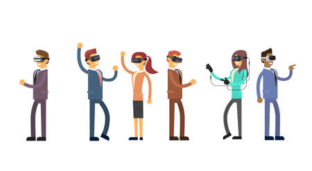 headset business: Business People Group Team Wear Virtual Reality Digital Glasses Headset Flat Vector Illustration