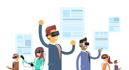 headset business: Business People Group Team Wear Reality Digital Glasses Headset Read Virtual News Paper Flat Vector Illustration