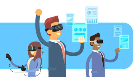 headset business: Business People Group Team Wear Virtual Reality Digital Glasses Headset Gloves Finance Graph Chart Flat Vector Illustration