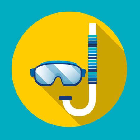 swimming glasses: Swimming Mask Goggles Glasses Icon Summer Marine Sea Ocean Tropical Vacation Holiday Flat Vector Illustration