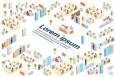 Moderne Geschäftszentrum-Bürogebäude-Wirtschaftler, die Innenkizze-Raum-isometrische Vektor-Illustration 3d bearbeiten