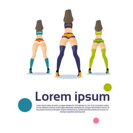 rump: Twerk Booty Dancer Modern Girl Performer Dance Rear Back View Flat Vector Illustration