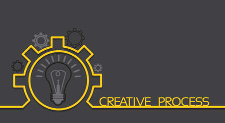 Light Bulb New Idea Brainstorming Concept Cogwheel Banner With Copy Space Flat Vector Illustration Illustration
