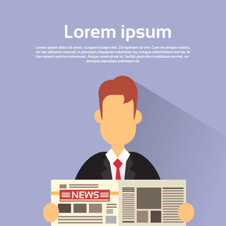 news paper: Business Man Hold News Paper Read Newspaper Vector Illustration