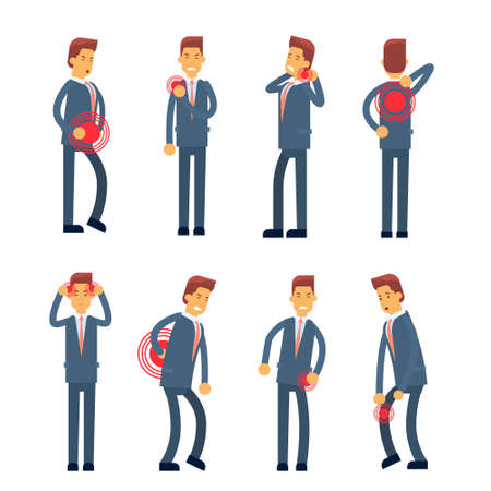 Office Worker Syndrome Sick Business Man Pain Set Collection Flat Vector Illustration