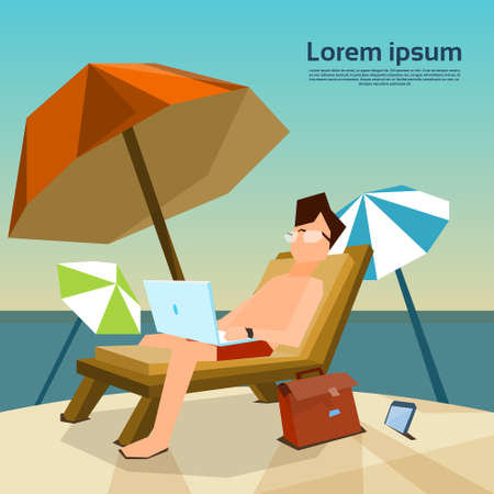 working place: Man Freelance Remote Working Place On Sunbed Using Laptop Beach Summer Vacation Tropical Island Flat Vector Illustration