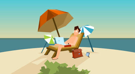 laptop computer: Man Freelance Remote Working Place On Sunbed Using Laptop Beach Summer Vacation Tropical Island Flat Vector Illustration