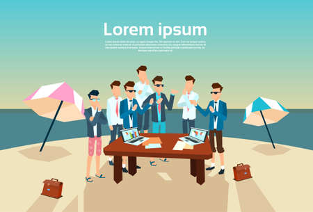Business People Group Office Desk Working Beach Summer Vacation Vector Illustration Illustration