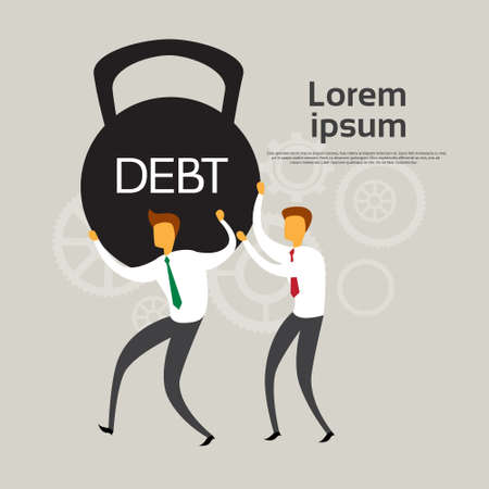financial crisis: Business People Hold Weight Debt Financial Crisis Concept Flat Vector Illustration