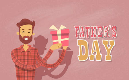 characters: Happy Father Day Holiday, Man Dad Hold Present Box Flat Vector Illustration Illustration