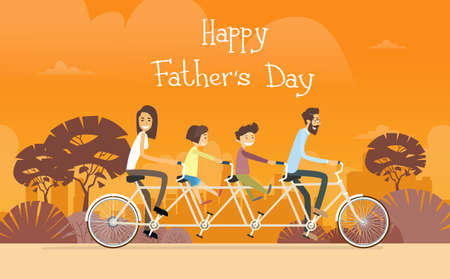 family holiday: Father Day Holiday, Family Ride Tandem Bicycle Flat Vector Illustration