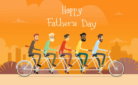 joyful: Father Day Holiday, Man Group Generation Ride Tandem Bicycle Flat Vector Illustration Illustration
