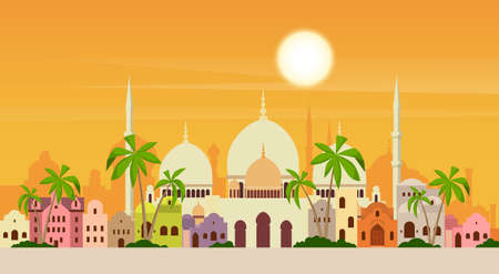 Muslim Cityscape Mosque Building Religion Flat Vector Illustration