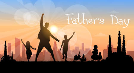 Father Day Holiday, Silhouette Son Daughter Dad Hold Hands Up Flat Vector Illustration 矢量图像