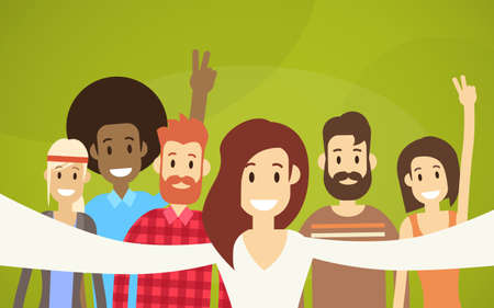People Group Taking Selfie Photo Hipster Friends Flat Vector Illustration