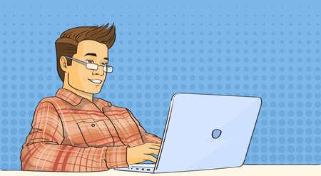 smart man: Casual Man Work Laptop Computer Pop Art Colorful Retro Style Vector Illustration
