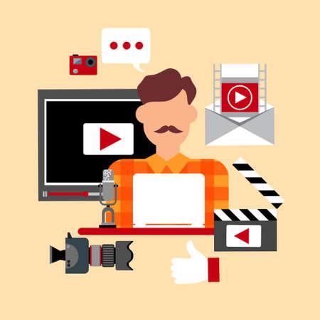Video  Blog Icon Concept Flat Vector Illustration