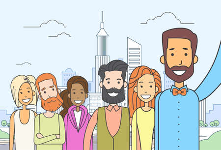 city live: Diverse People Group Taking Selfie Photo City View Thin Line Vector Illustration
