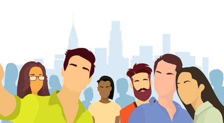 smart woman: People Group Taking Selfie Photo City View Flat Vector Illustration