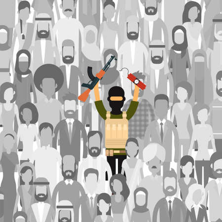 armed: Armed Terrorist In Crowd People Group Terrorism Threat Concept Flat Vector Illustration