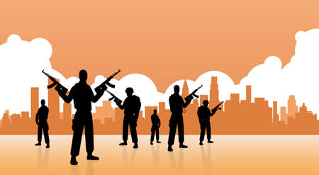 Terrorist Group Over City View Banner Flat Vector Illustration