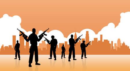 Terrorist Group Over City View Bannière Flat Vector Illustration
