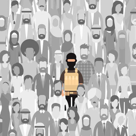 balaclava: Terrorist In Crowd People Group Terrorism Threat Concept Flat Vector Illustration Illustration