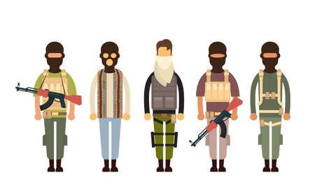 Illustrazione terrorismo Concetto piatto Vector armato terrorista Gruppo Vettoriali