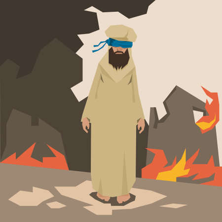 kamikaze: Terrorist Land In Fire Terrorism Concept Vector Illustration