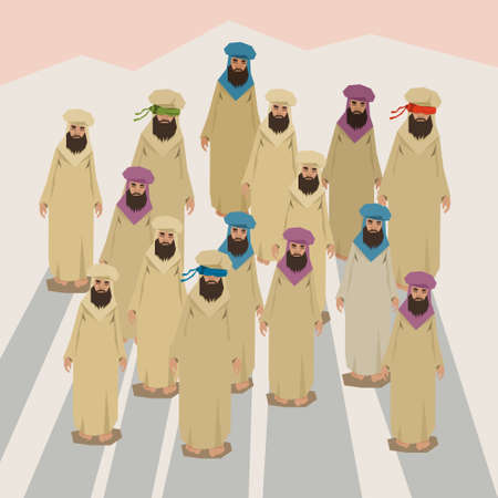 Arab People Group Traditional Clothes Desert Crowd Full Length Flat Vector Illustration