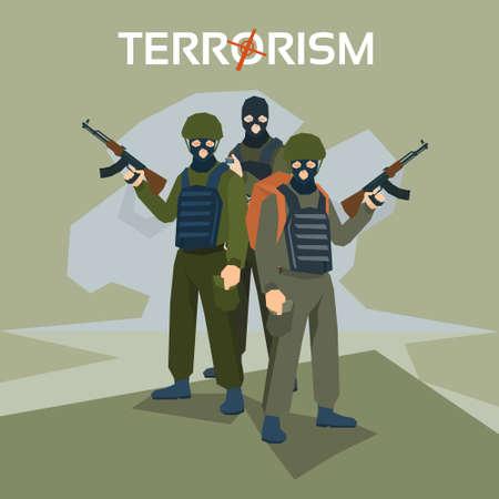 kamikaze: Armed Terrorist Group Terrorism Concept Flat Vector Illustration