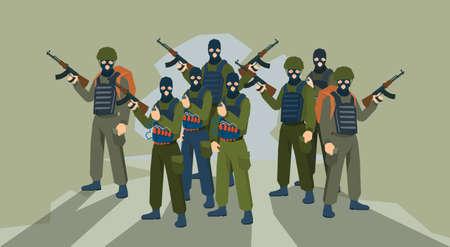 balaclava: Armed Terrorist Group Terrorism Concept Flat Vector Illustration