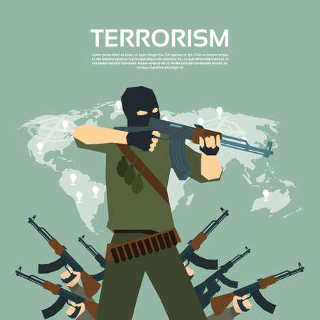 automatic rifle: Armed Terrorist Group Over World Map International Terrorism Concept Flat Vector Illustration