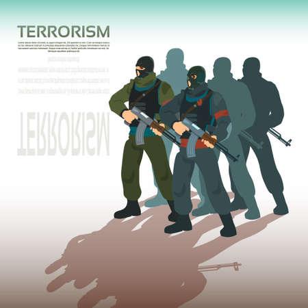 terrorism: Armed Terrorist Group Team Leader Terrorism Vector Illustration Illustration