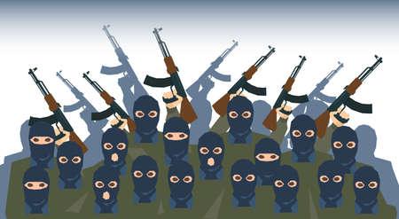 balaclava: Armed Terrorist Group Terrorism People Crowd Vector Illustration