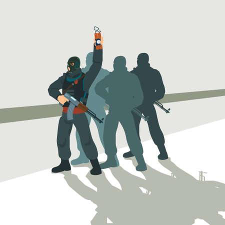 Armed Terrorist Group Team Leader Terrorism Vector Illustration Vectores