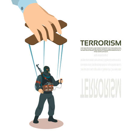 middle east conflict: Terrorist Puppet Hand Terrorism Control Vector Illustration