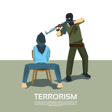 hostage: Armed Terrorist Point Gun to Hostage Kidnapping Terrorism Vector Illustration
