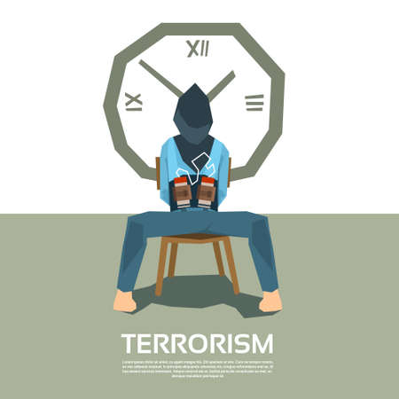 victim war: Terrorism Tied Hostage Blindfolded Sitting Chair With Bomb Clock Timer Vector Illustration