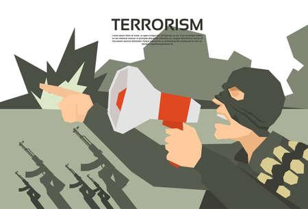 terrorism: Terrorist With Megaphone Terrorism Group Leader Flat Vector Illustration