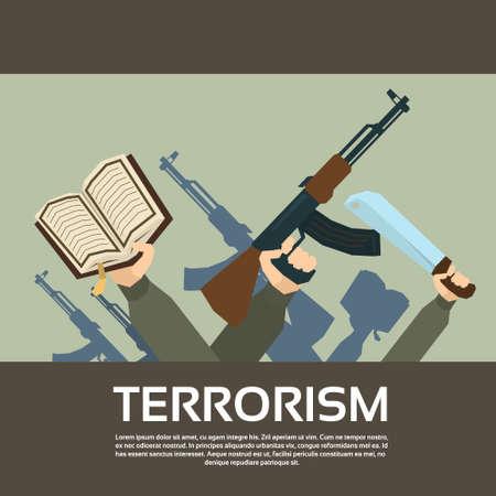 militant: Terrorist Group Hands Holding Guns Terrorism Vector Illustration