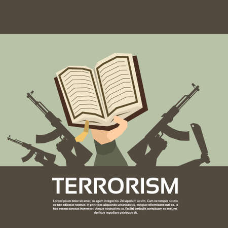 militant: Terrorist Group Hands Holding Guns Terrorism Vector Illustration