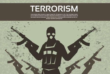 Terrorism Armed Terrorist Black Mask Hold Weapon Machine Gun Vector Illustration