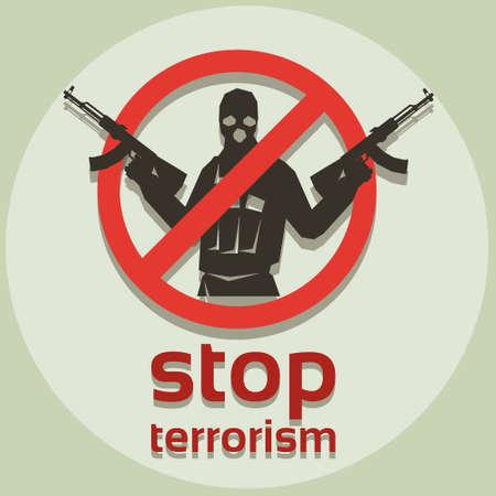 balaclava: Stop Terrorism Sign Armed Terrorist Black Mask Hold Weapon Machine Gun Vector Illustration